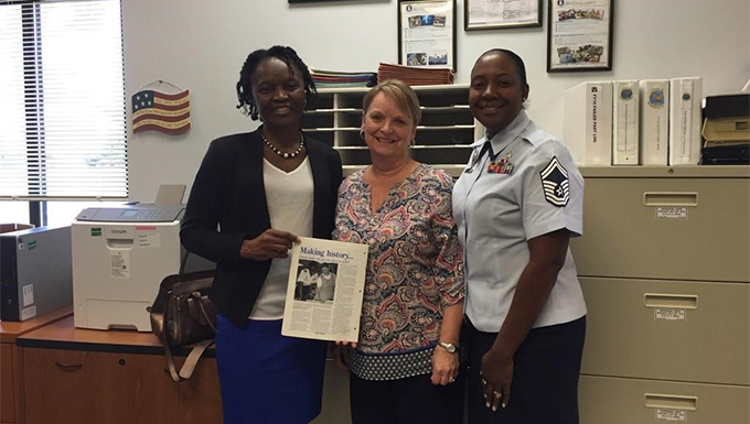 Retired Senior Master Sgt. Terry Cooper, left, poses for a photo with Dorothea Clisby 336th Recruiting Squadron secretary, middle and Senior Master Sgt. Josephine Davis-Fogle, 336th RCS production superintendent, during a visit, March 24, 2016, at Moody Air Force Base, Ga. Cooper was the first female squadron superintendent of the 336th RCS. Twenty years later, Davis-Fogle is the only other female to hold that position and works with the same secretary as her predecessor. (Courtesy Photo)