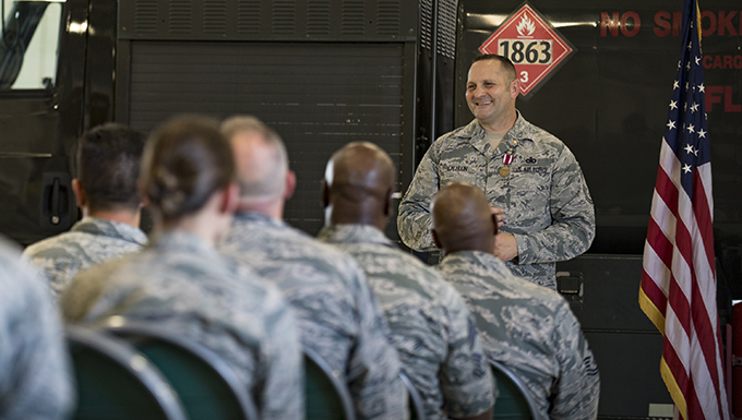 Chief Master Sgt. Jim Calhoun, 23d Logistics Readiness Squadron superintendent, addresses family, friends and colleagues, during his retirement ceremony, June 1, 2017, at Moody Air Force Base, Ga. Calhoun entered the Air Force in August of 1991 and served in numerous positions within fuels management and logistics readiness throughout his career. (U.S. Air Force photo by Senior Airman Daniel Snider)