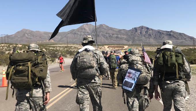 U.S. Air Force Airmen from the 23d Security Forces Squadron at Moody Air Force Base, Ga., march during the Bataan Memorial Death March, March 19, 2017, at White Sands Missile Range, N.M. Staff Sgt. Max Biser, 23d SFS NCO in charge of confinement, marched 26.2 miles to honor his grandfather, retired U.S. Army Sgt. Maj. Ricardo Plana and thousands more prisoners of war, who were forced to march 70 miles before entering concentration camps during WWII. (courtesy photo)